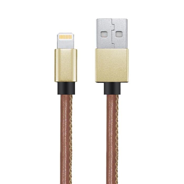 Cabo USB Lightning Couro Marrom Premium 1,5 Metros Ligh12 Geonav (0)